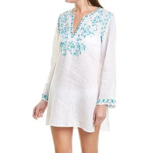 Johnny Was Marie Embroidered Linen Tunic Cover-up